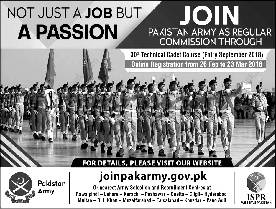 Join Pak Army jobs 30th Technical Cadet Course 2018