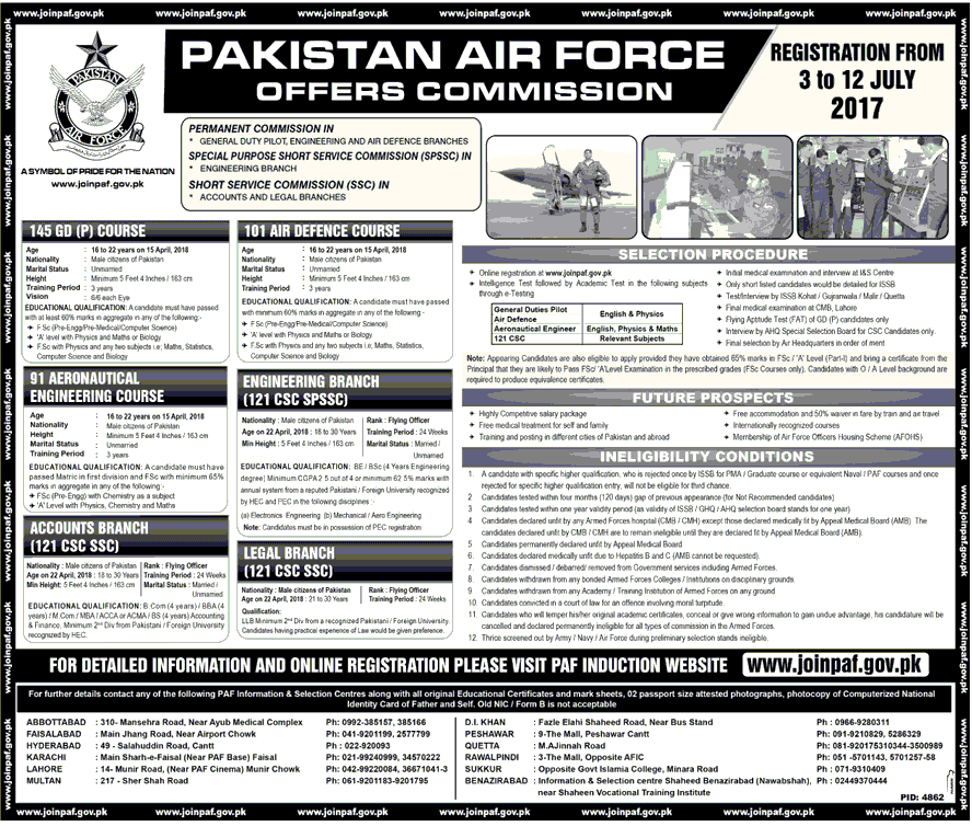 PAF Permanent Commission Jobs 2017