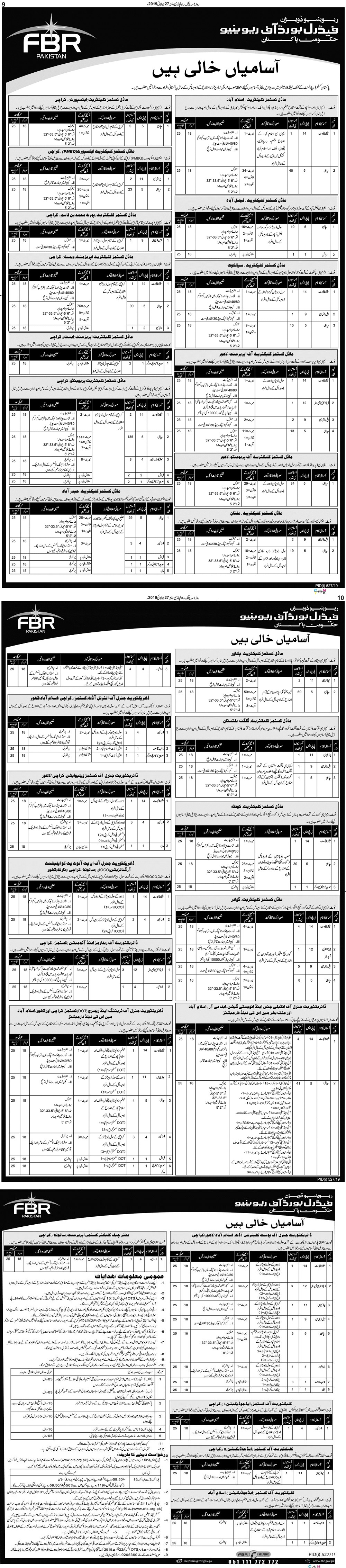 FBR jobs 2021 announced,eligibility criteria,download application form