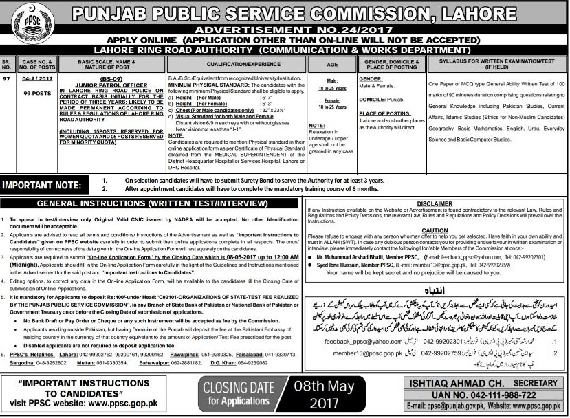 PPSC jobs Junior Petrol Officer 2017