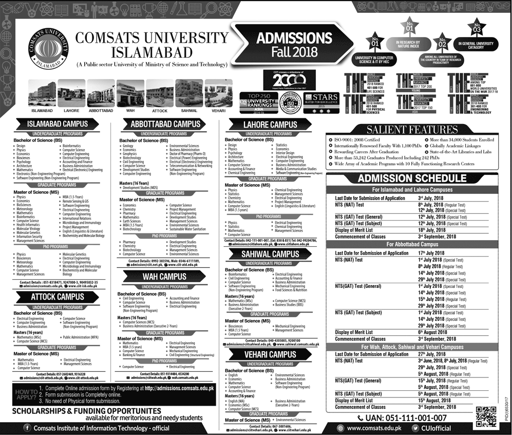 Comsat University Islamabad Admission 2018