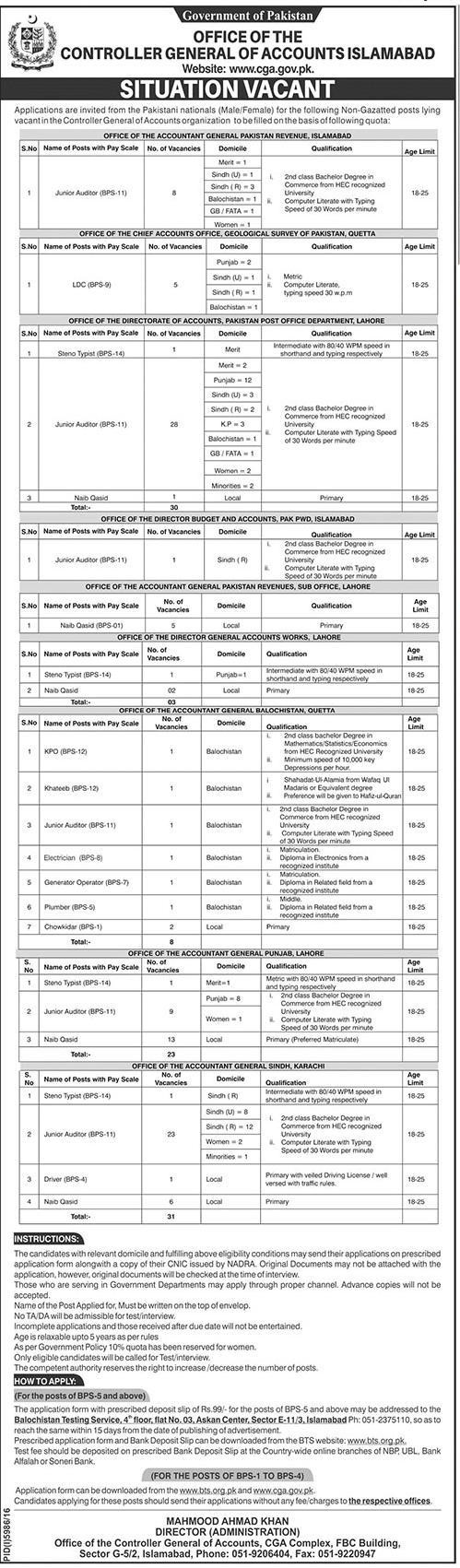 Controller General of Accounts jobs 2017 junior auditors