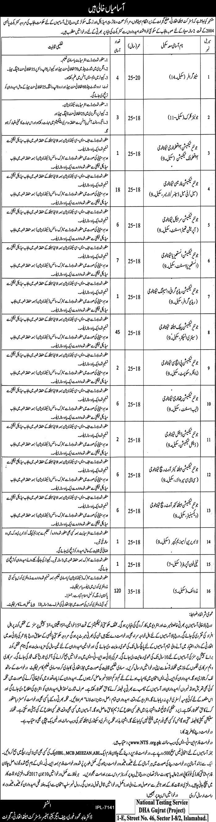 District Health Authority Gujrat NTS Jobs 2017 Application Form Test Preparation