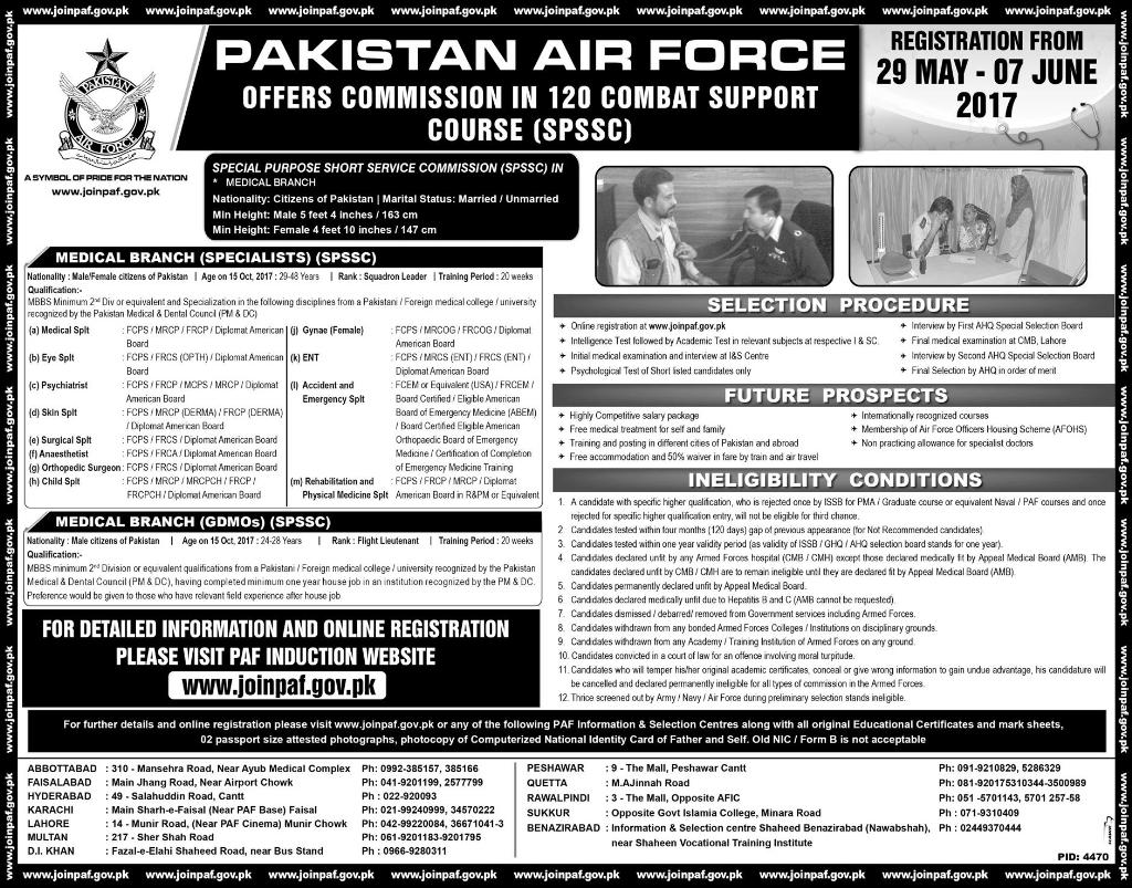 Join PAF 120 Combat Support Course 2017 Registration Online Test Preparation