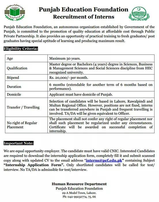 Punjab Education Foundation PEF Internships 2017