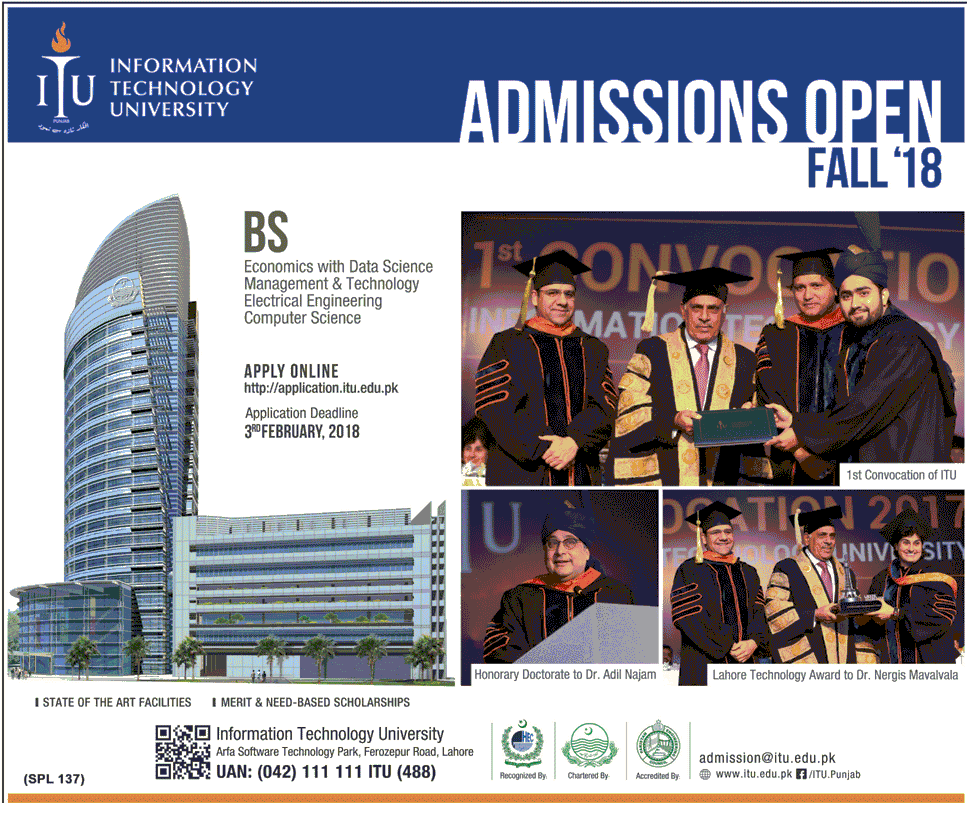 Information Technology University Spring Admission 2018
