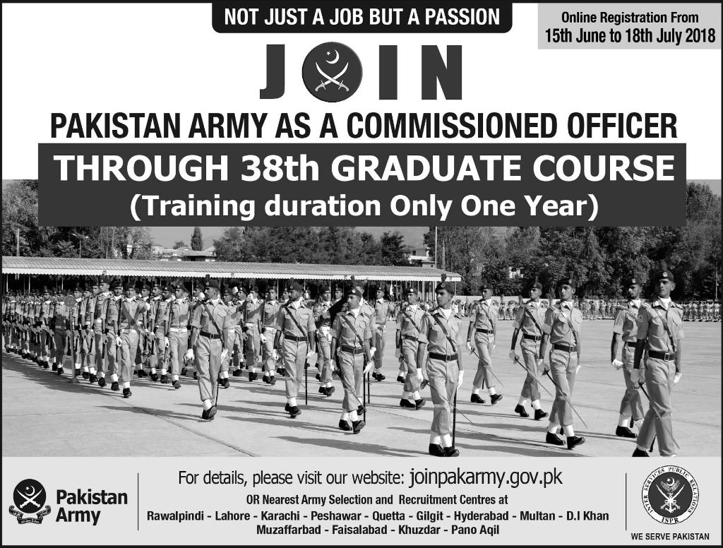 Join Pak Army through 38th Graduate Course