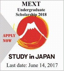 MEXT undergraduate scholarship 2018 offered for intermediate students