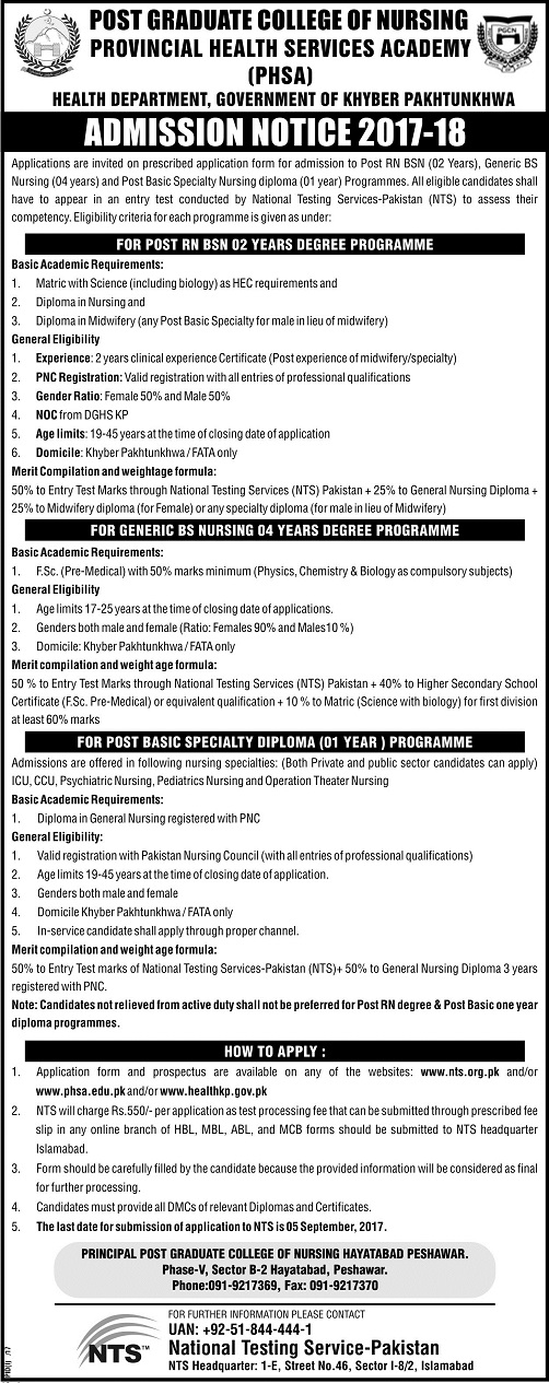 Peshawar Post Graduate College of Nursing Admissions 2017-2018
