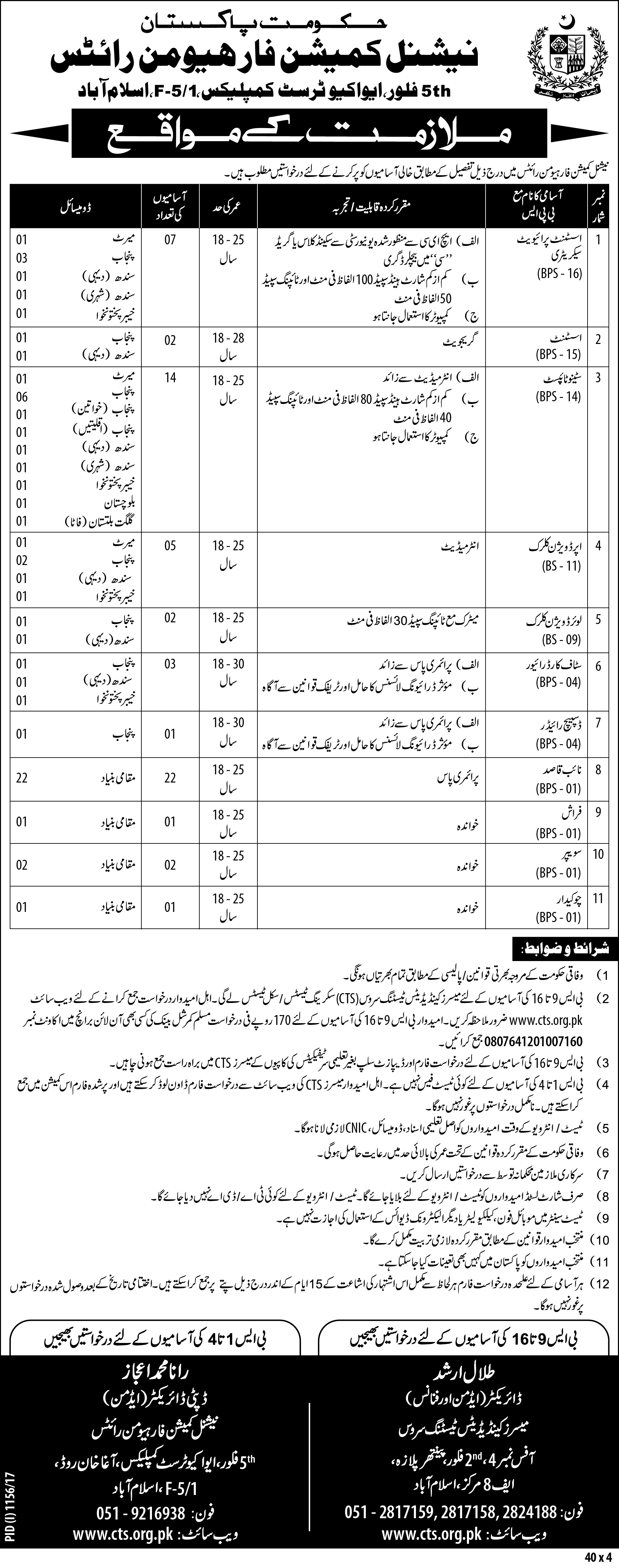 National Commission for Hman Rights Jobs 2017