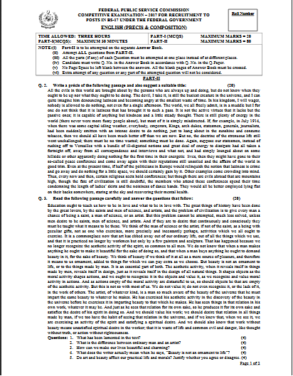 English CSS Past Paper