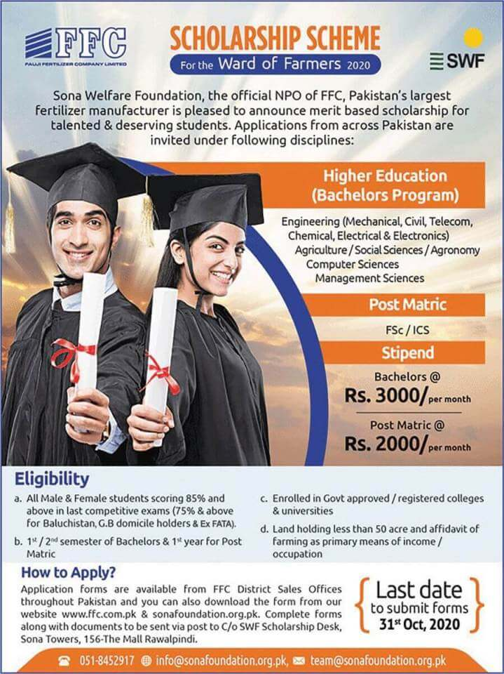 FFC Educational Scholarships 2021 for Matric FSc Students Apply forms Download Now