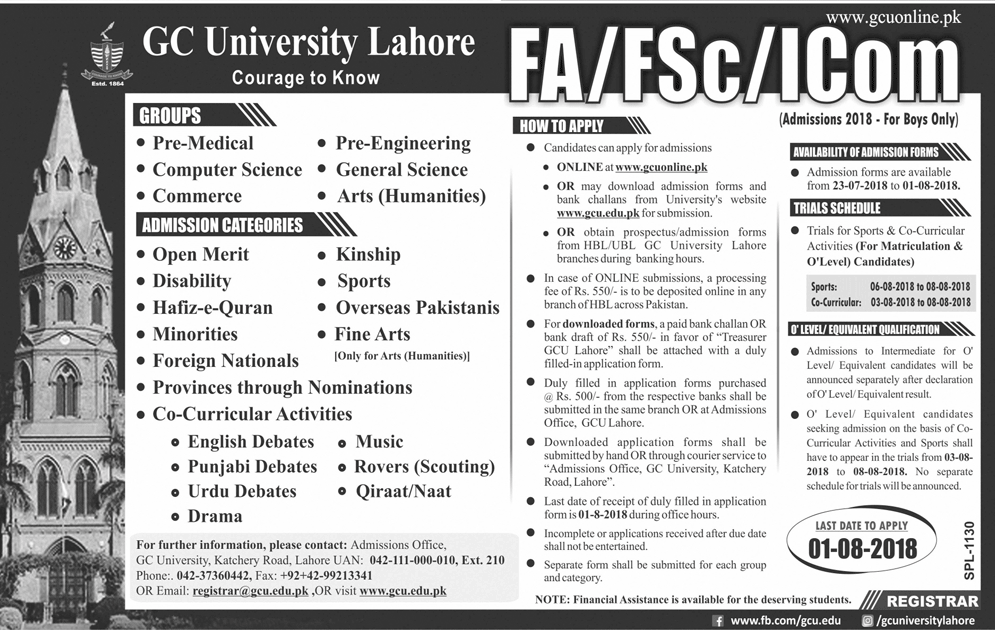 GC University Lahore FA FSc Admission 2018