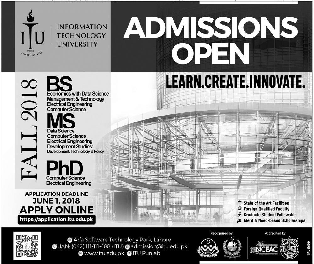 ITU University BS MS PhD Admission 2018