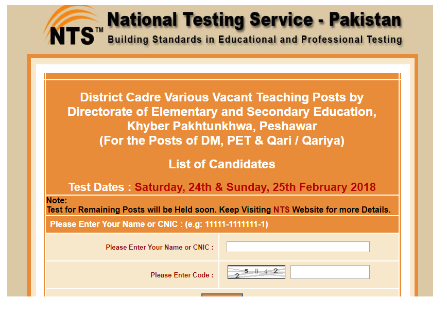 District Education Department Bannu NTS Jobs Result