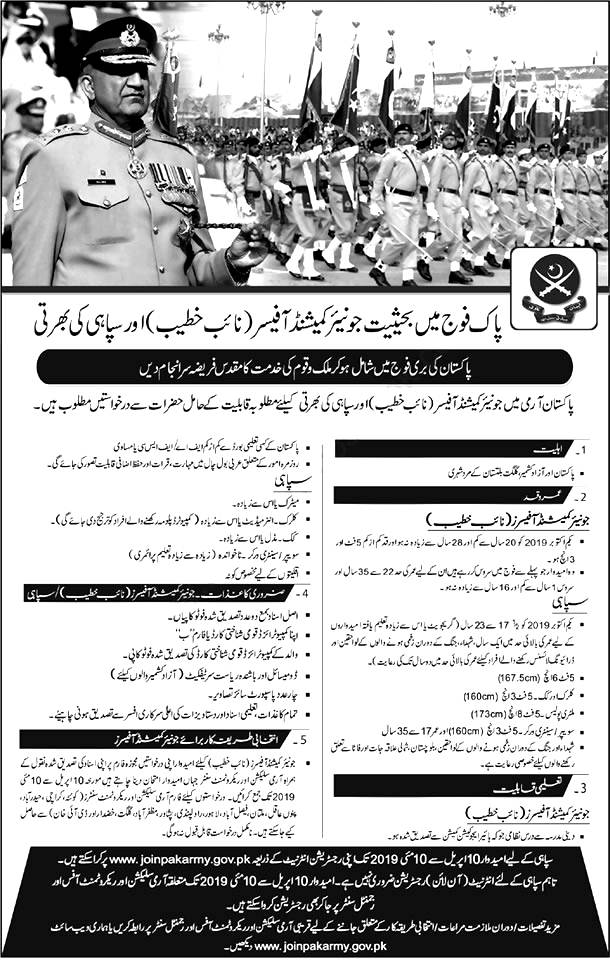 Join Pak Army Commissioned Officer Soldier Khateeb 2019 Apply Online