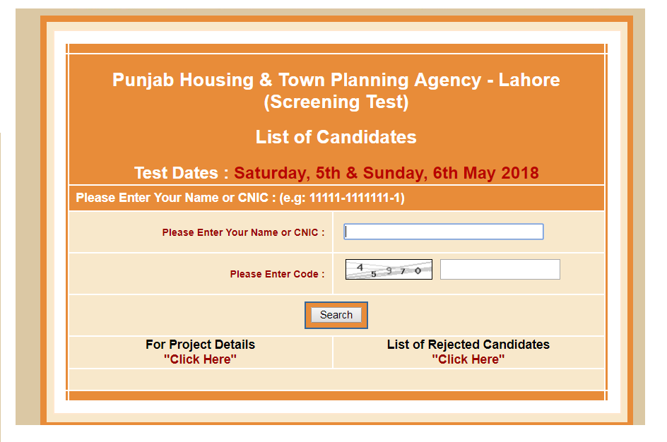 Punjab Housing & Town Planing Agency Lahore Roll No slips 2018