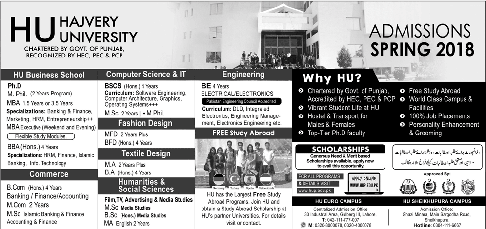 Hajvery University admission entry test preparation 2018