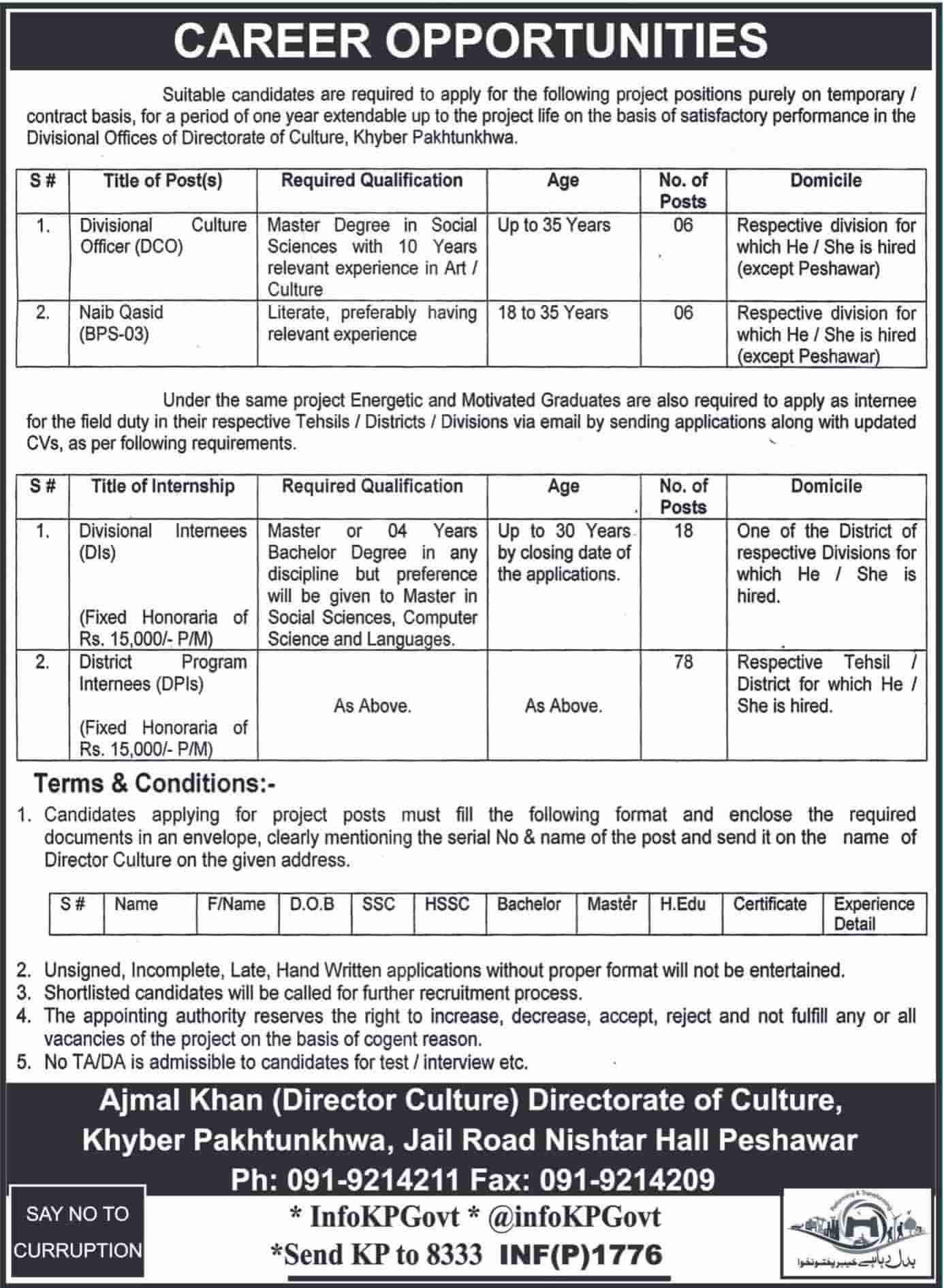 KPK Govt Internship 2018 Directorate of Culture Apply online