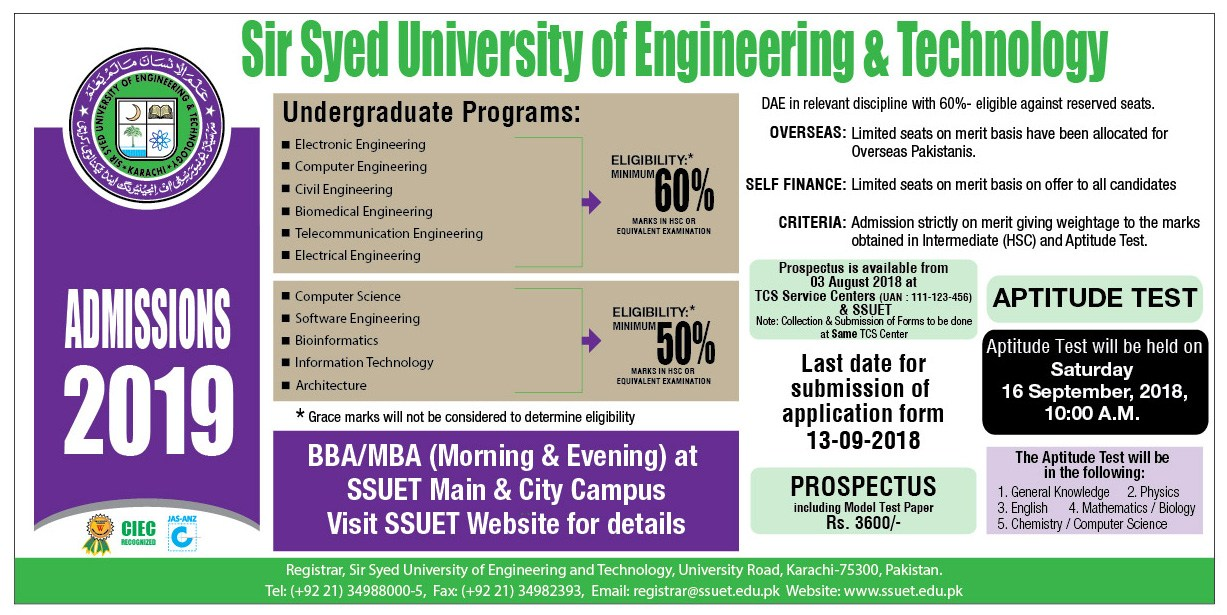 Sir Syed University of Engineering & Technology Admission 2018