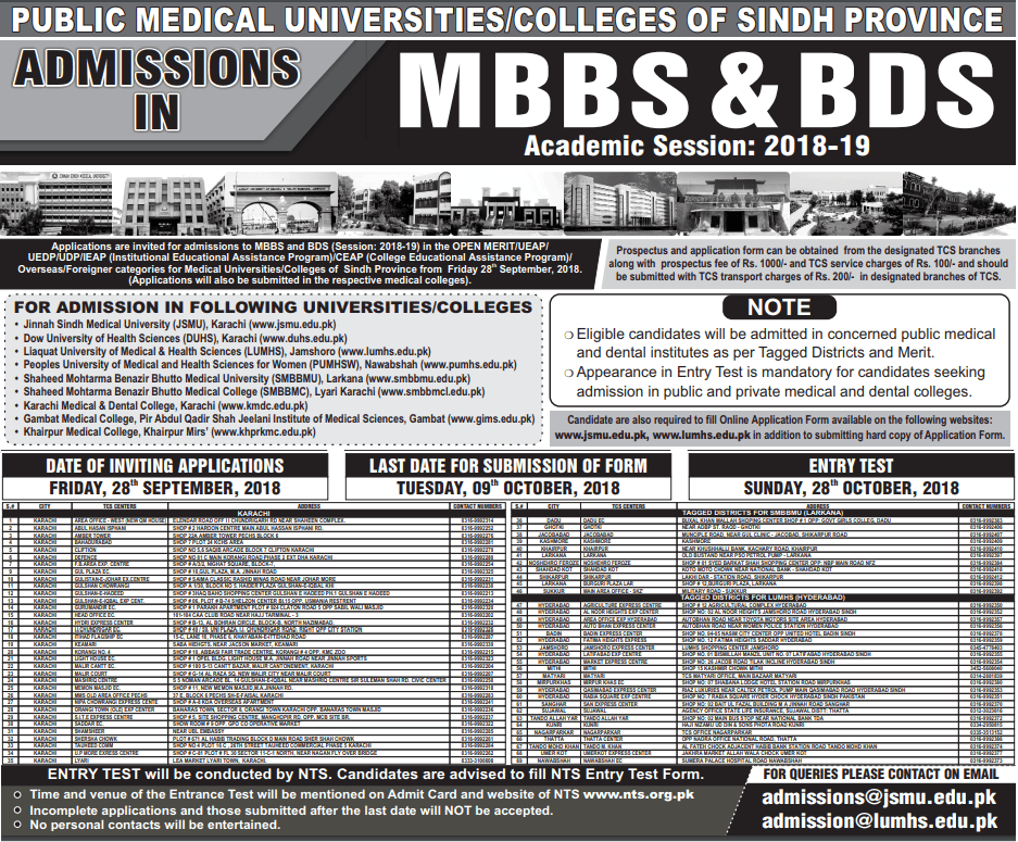 All Sindh Medical Universities NTS Entry Test 2021 Online Preparation Results and Merit list
