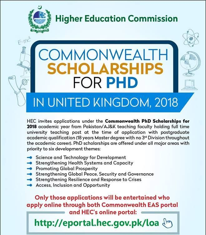HEC Commonwealth Scholarship 2019 For Master & PhD