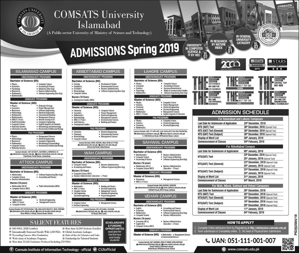 COMSATS University Islamabad Admission Spring 2019 Apply Online