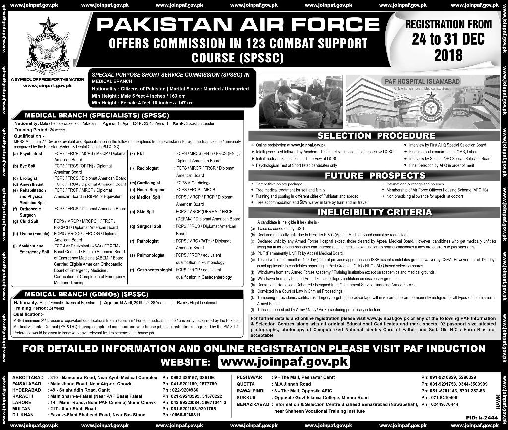 Join as MBBS Doctor in PAF Air Force 2019 Eligibility Written test and physical Test