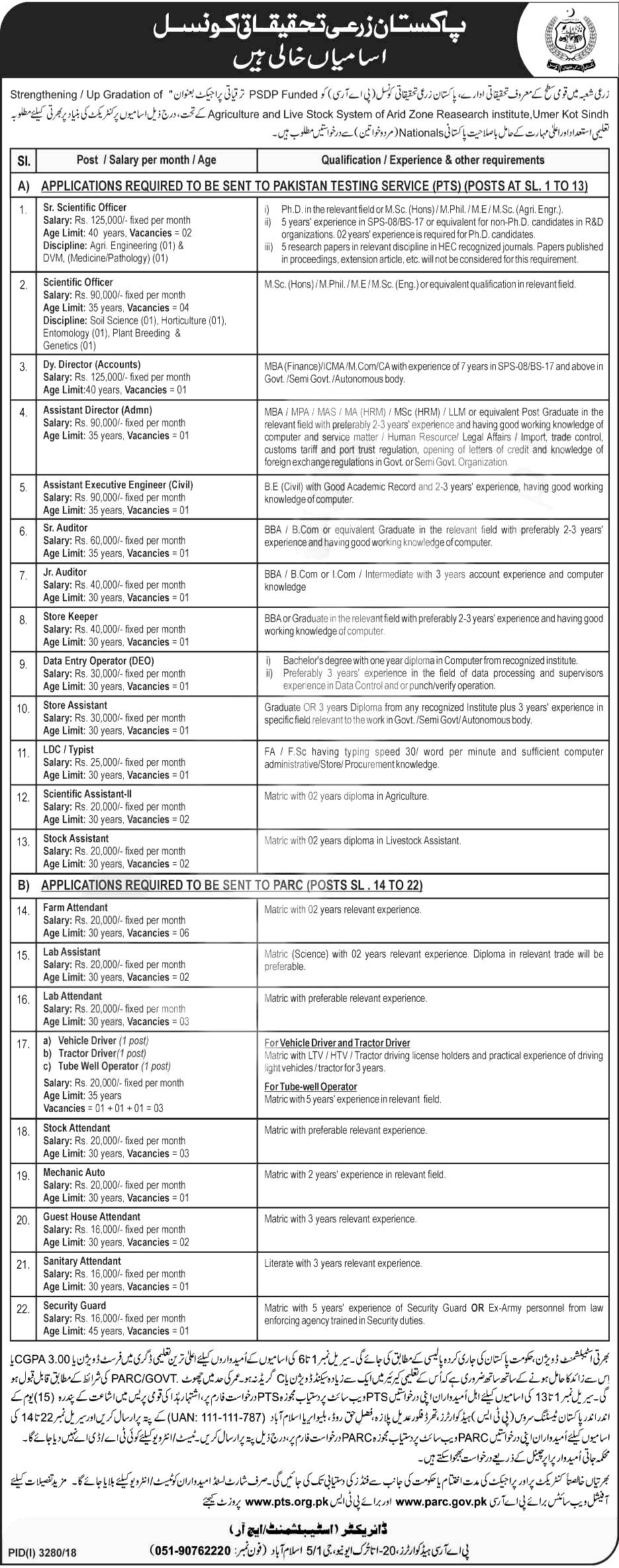PTS Agriculture Research Council PARC Jobs 2019 Applications Form roll no slips download online
