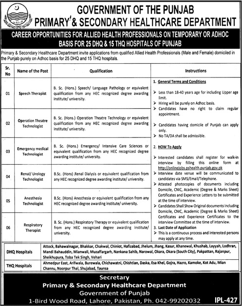 Punjab Govt Health Jobs 2019 Candidates Interview Date and Merit lists