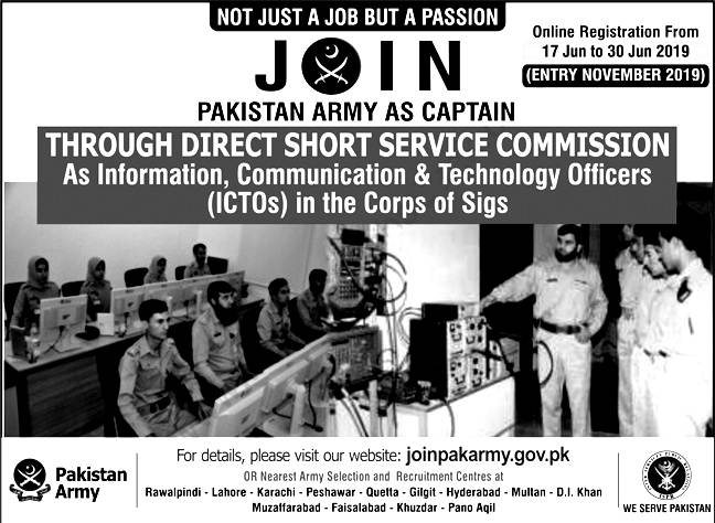 Join Pak Army 2019 As Captain Apply Online