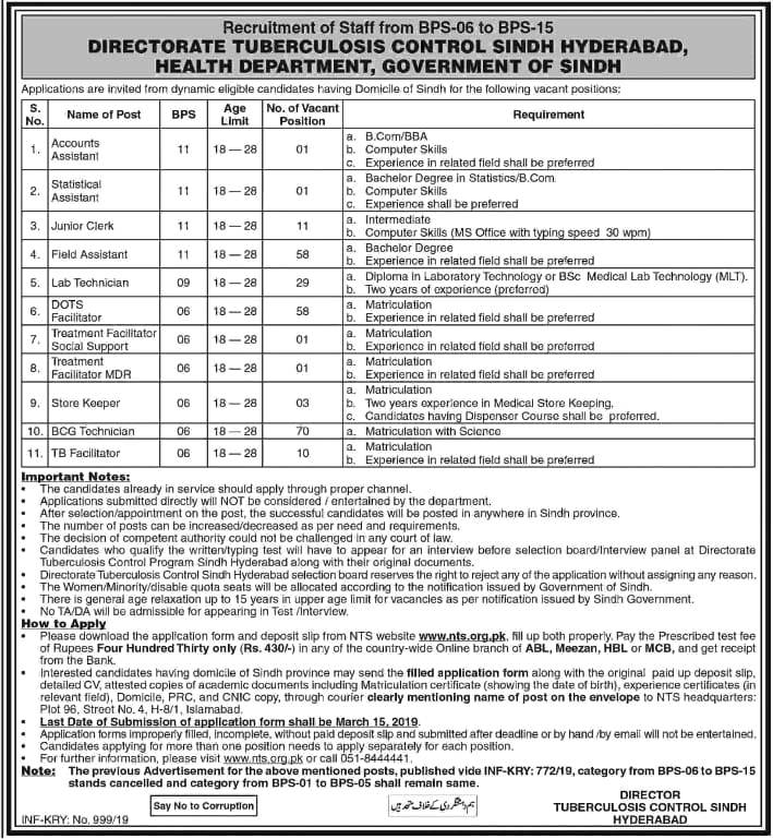 Govt of Sindh Directorate Tuberculosis Control Health Department Jobs 2019 NTS Application Form Roll Number Slips
