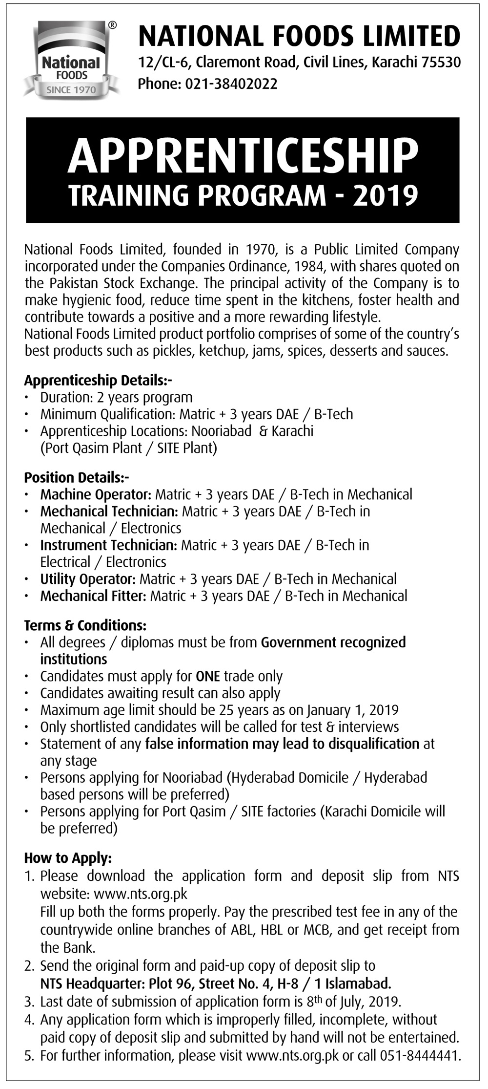 National Foods limited Karachi NTS Training Program 2019