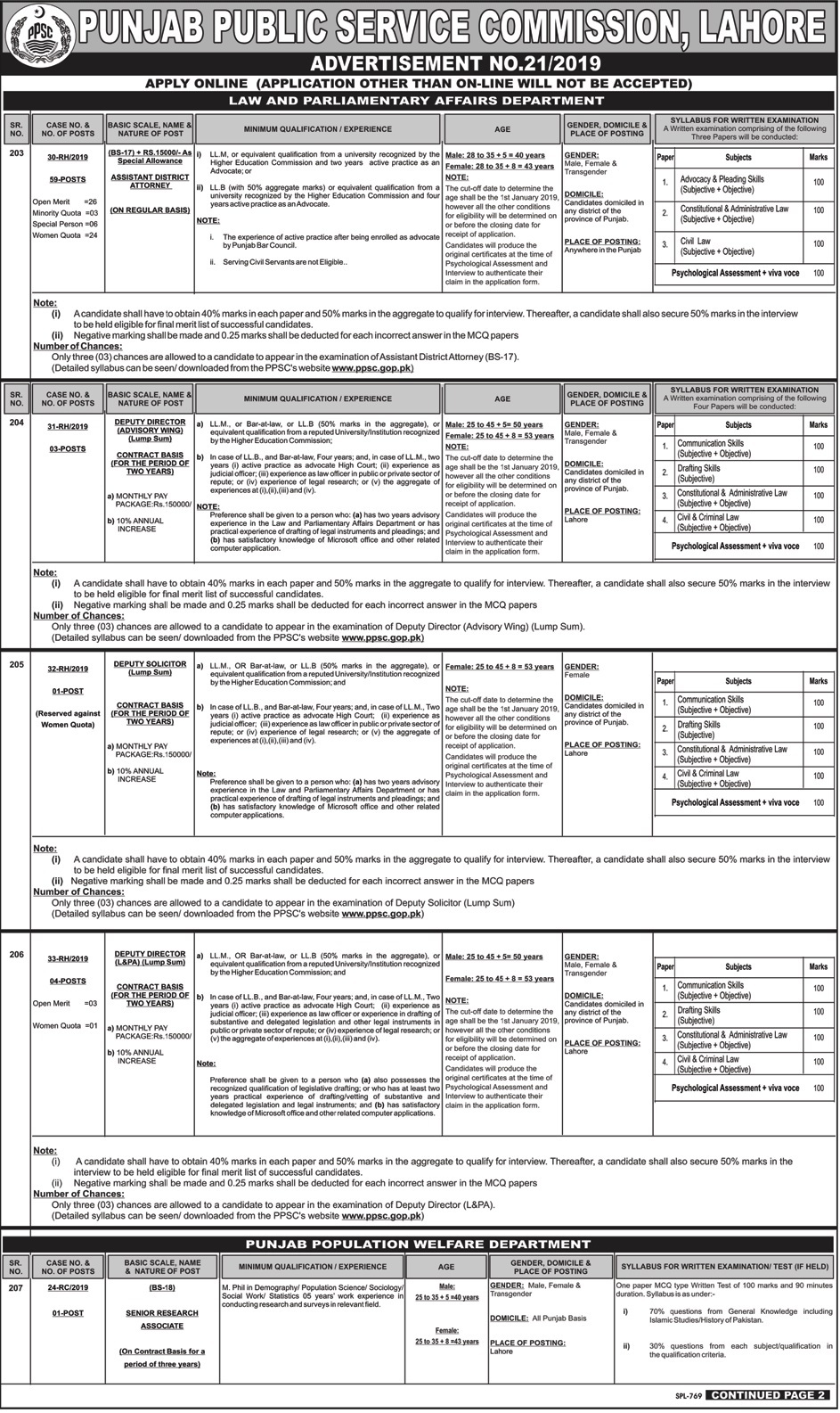 PPSC Jobs 2019 Preparation Online Mcqs for Law and Parliamentary Affairs