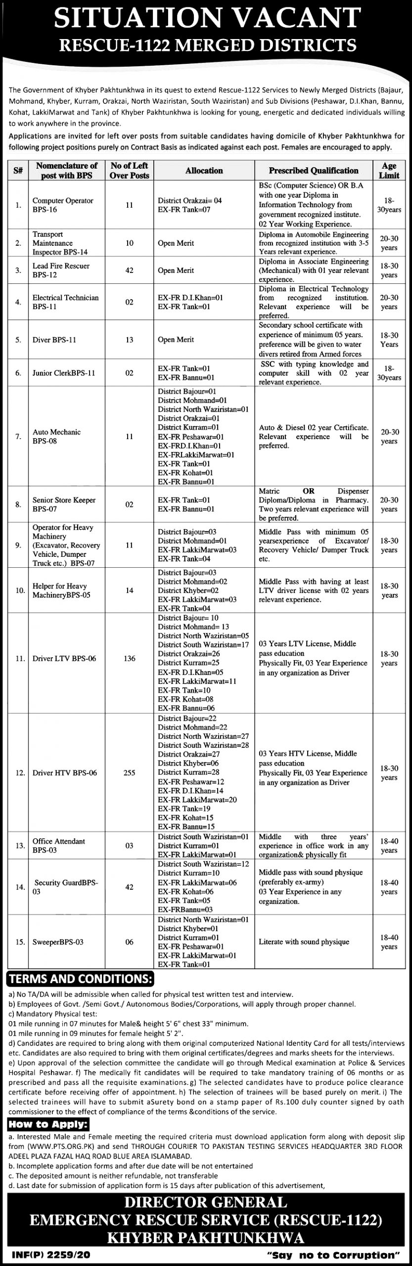 Rescue 1122 KPK Jobs 2021 PTS Application forms Roll Slips Download Online