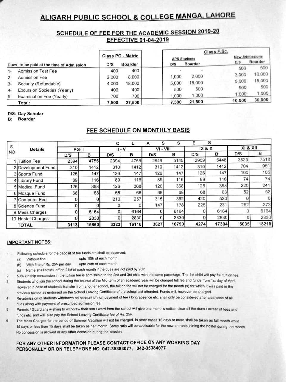 Aligarh Public School and College Manga Lahore Admission NTS 2020 Application Form