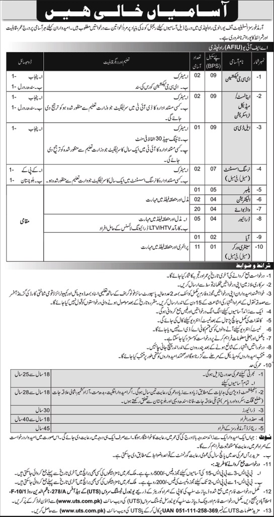 Armed Forces Institute of Urology Rawalpindi UTS Jobs 2020 Apply Online Eligibility Criteria