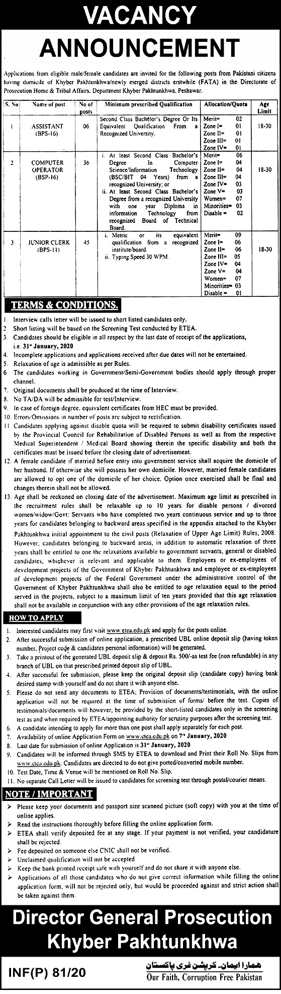 Directorate of Prosecution Home and Tribal Affairs Department KPK Jobs 2020 ETEA Apply Online