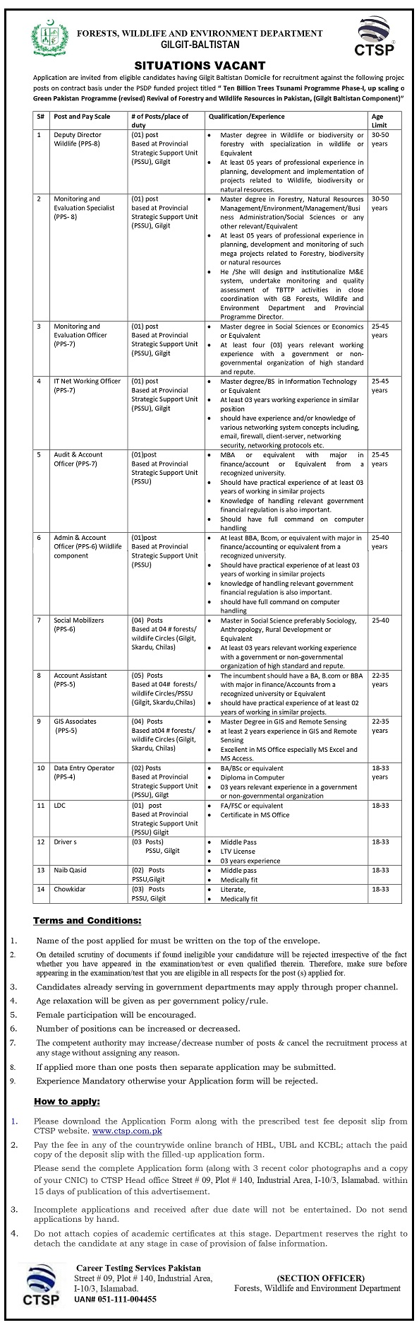 Forests Wildlife and Environment Department CTSP Jobs 2020 Registration Form Challan Form