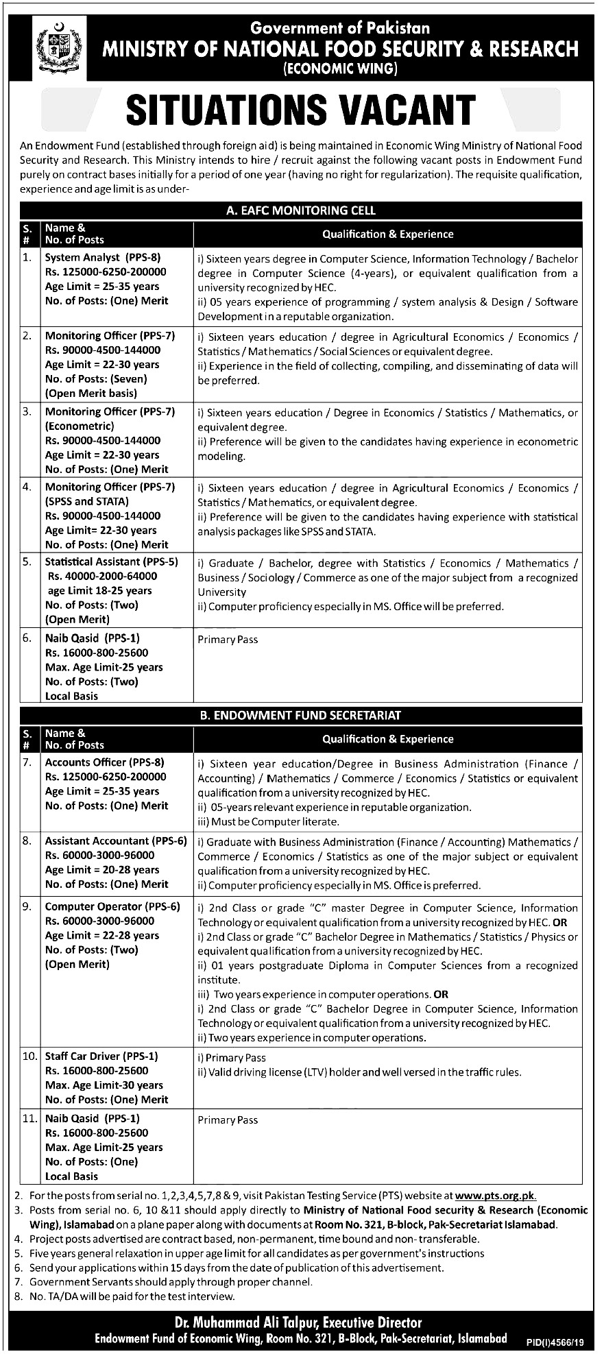 Ministry of National Food Security and Research PTS Jobs 2020 Apply Online