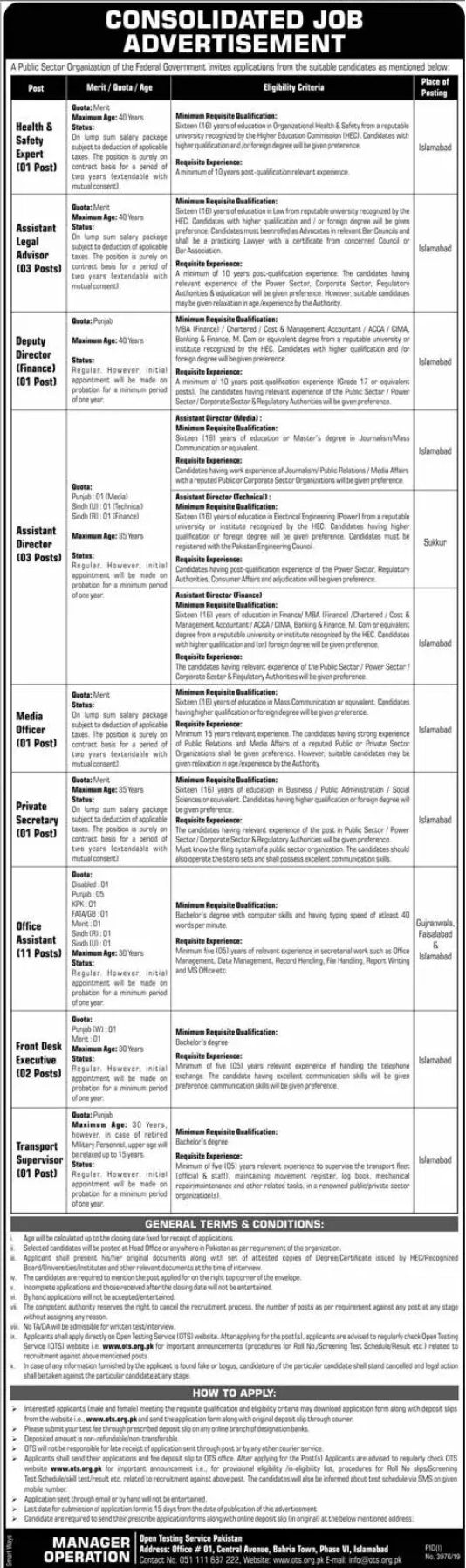 Public Sector Organization Government Of Pakistan Jobs 2020 OTS Application Form Download