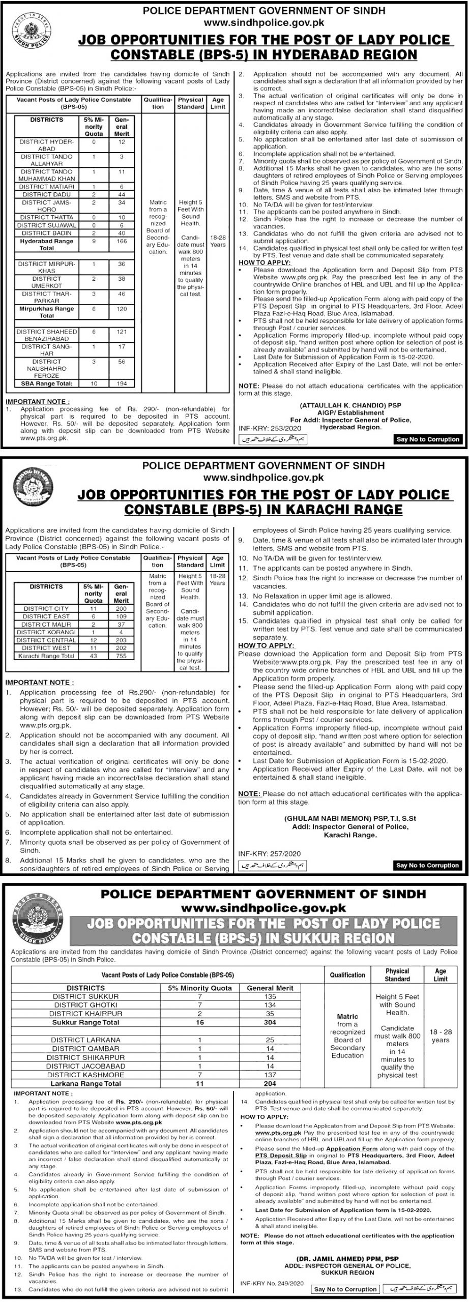 Sindh Police Department PTS Jobs 2020 Application Form Eligibility Criteria