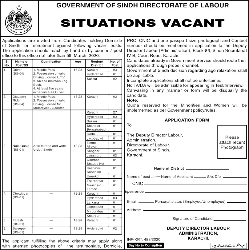 Directorate of Labour Sindh Jobs 2020 Application Form Download