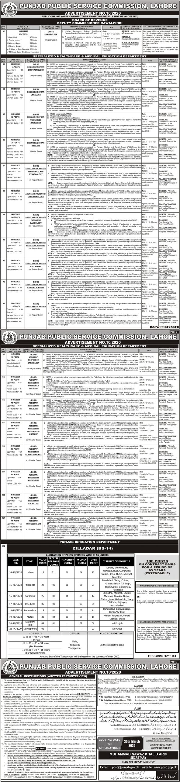 Irrigation Department PPSC Jobs 2020 Apply Online Eligibility Criteria