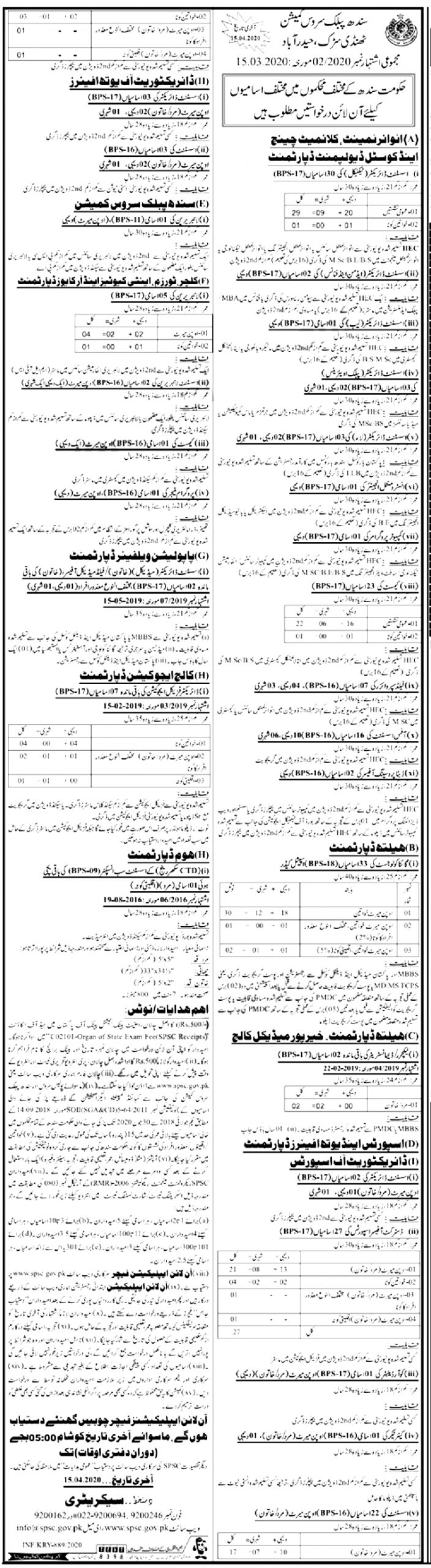 Sports Youth Affairs Department SPSC Jobs 2020 Apply Online Last Date