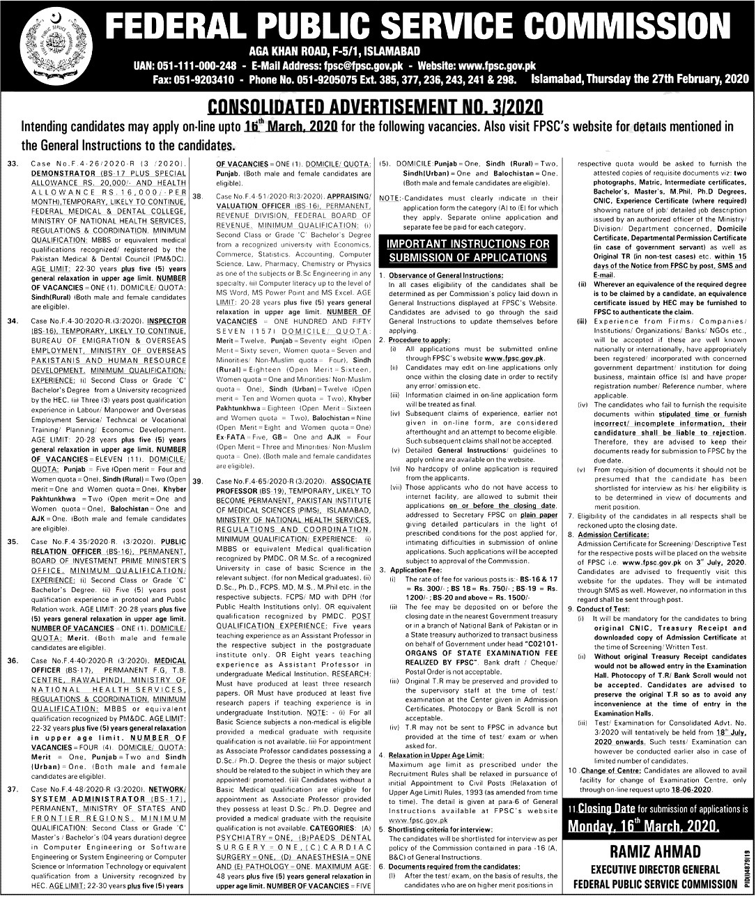 Federal Board of Revenue FPSC Jobs 2020 Apply Online Eligibility Criteria