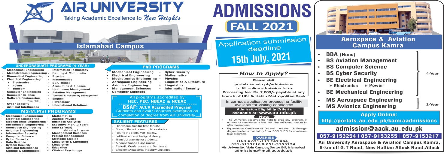 Air University Islamabad Admission Fall 2021 Form Apply Online Test Schedule Merit Lists