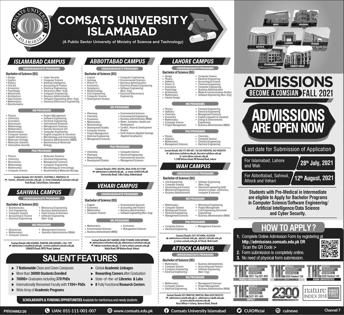 COMSATS CIIT Admission Fall 2021 Form Download Online Apply