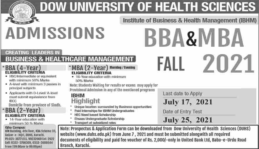 Admission in Institute of Health Management in BBA, MBA & EMBA