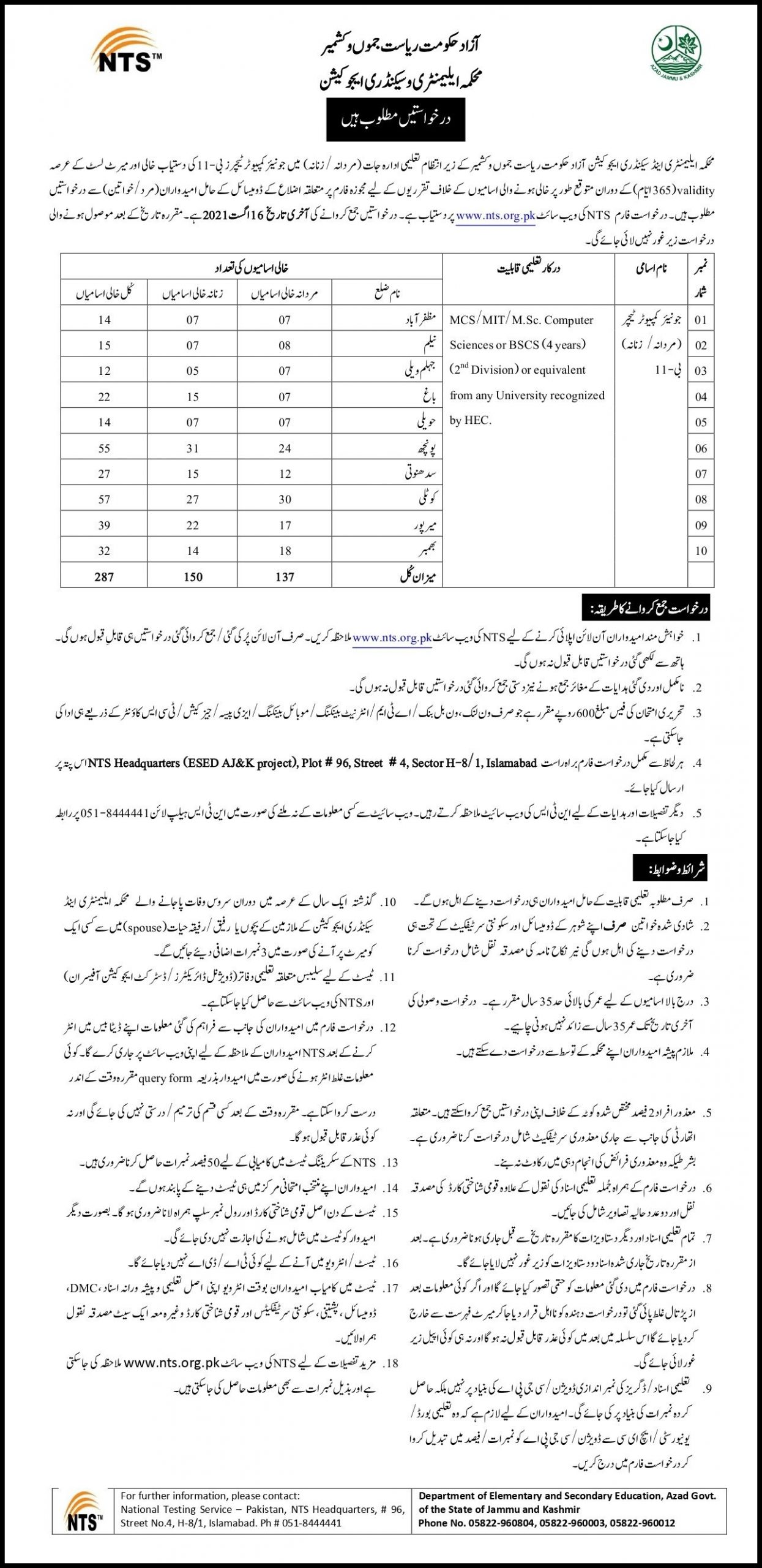 Elementary and Secondary Education Department AJK NTS Jobs 2021 Application Form